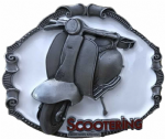 Lambretta Scooter Belt Buckle with display stand. Code SK7